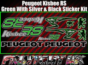 Peugeot Kisbee RS Decals/Stickers Green Silver Black Multicolour